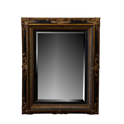 Gold Black Frame Beveled Mirror