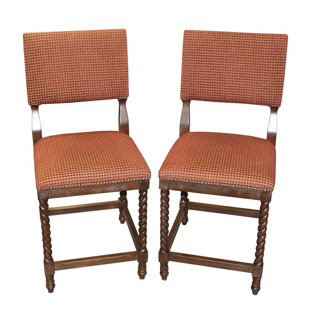 Ballard Design Pair Fabric Barstools