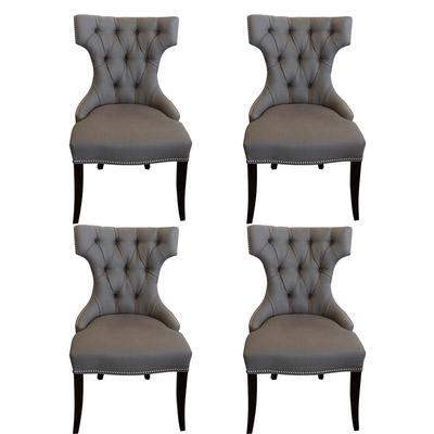 Set of 4 Custom Linen Nailheads Chair