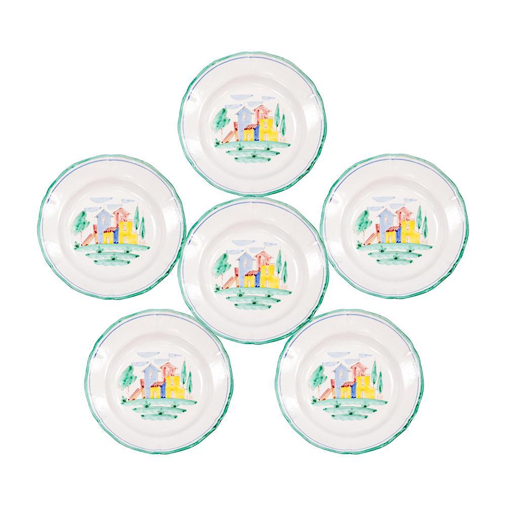 Set Of 6 Vietri 151 Ceramic Pasta Plates