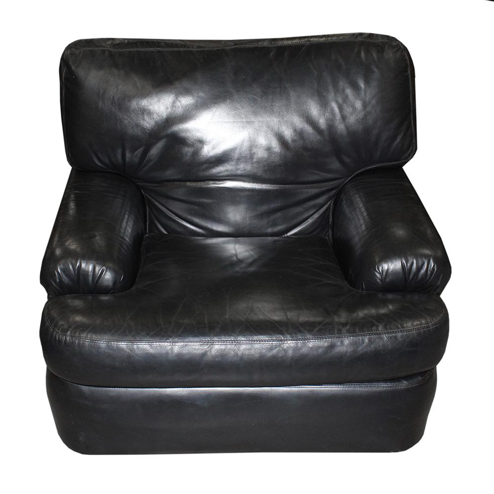 Emerson Black Leather Arm Chair