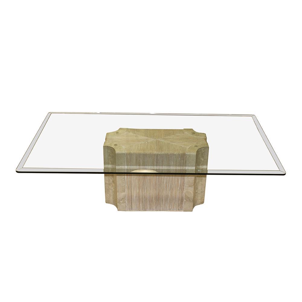 Travertine Glass Top Coffee Table
