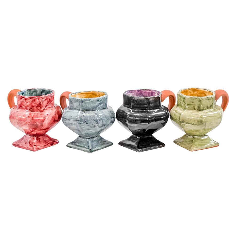 Mackenzie Childs Set Of 4 Octagon Mugs