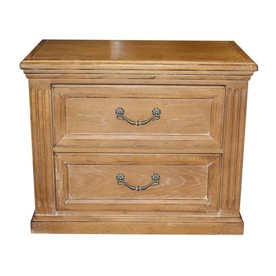 Drexel Carved Distressed Wood Nightstand