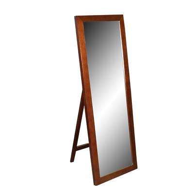 Dark Stained Wood Standing Floor Mirror