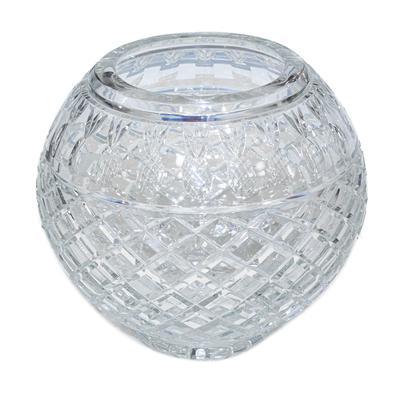 Pineapple Cut Round Crystal Vase