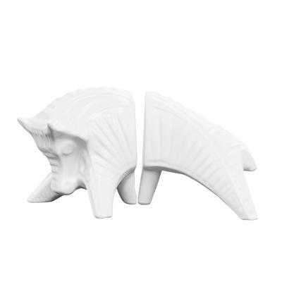 Jonathan Adler White Porcelain Bull Book Ends