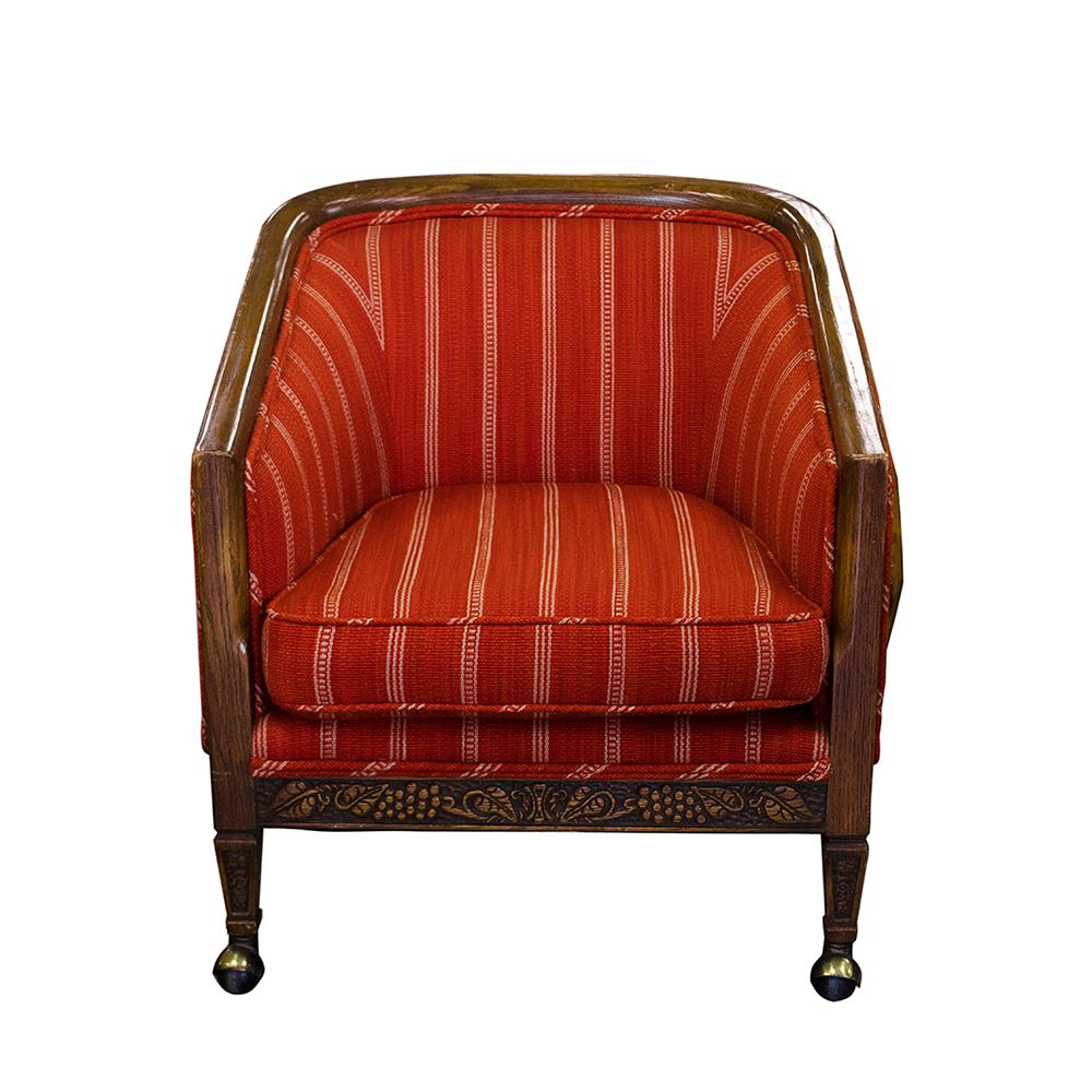 Vintage Mod Orange Chair On Casters