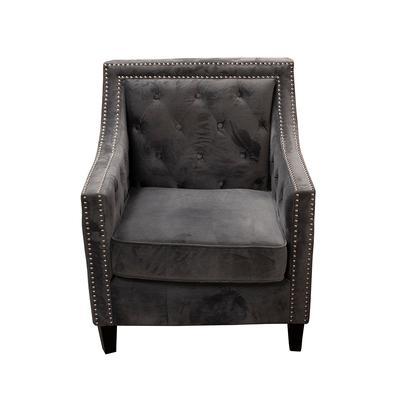 Grey Microsuede Nailhead Chair