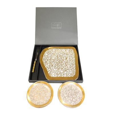 M. WainWright Gold Luna Tray and Plate Set
