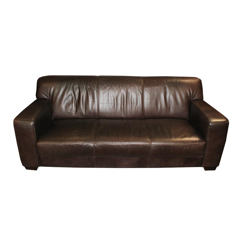 Modern Brown Leather Sofa