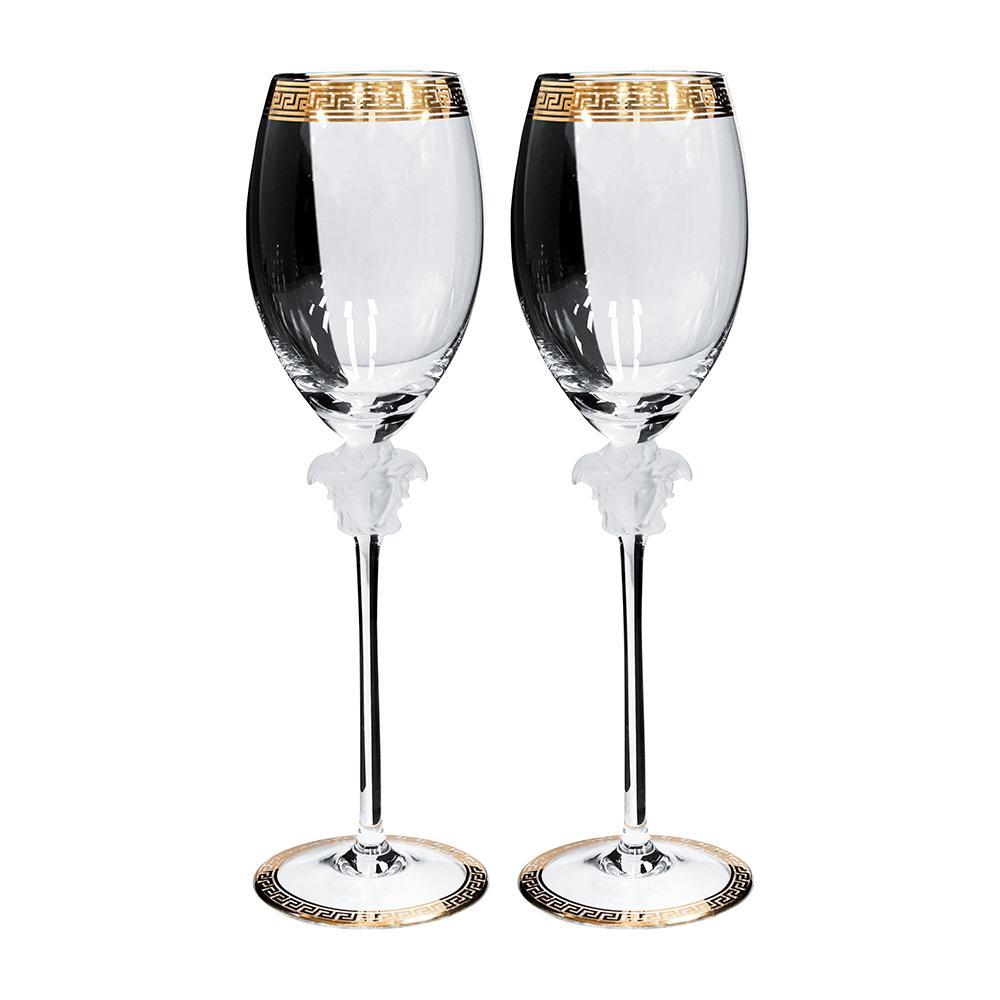 Pair Of Versace By Rosenthal Medusa Head Crystal White Wine Glasses