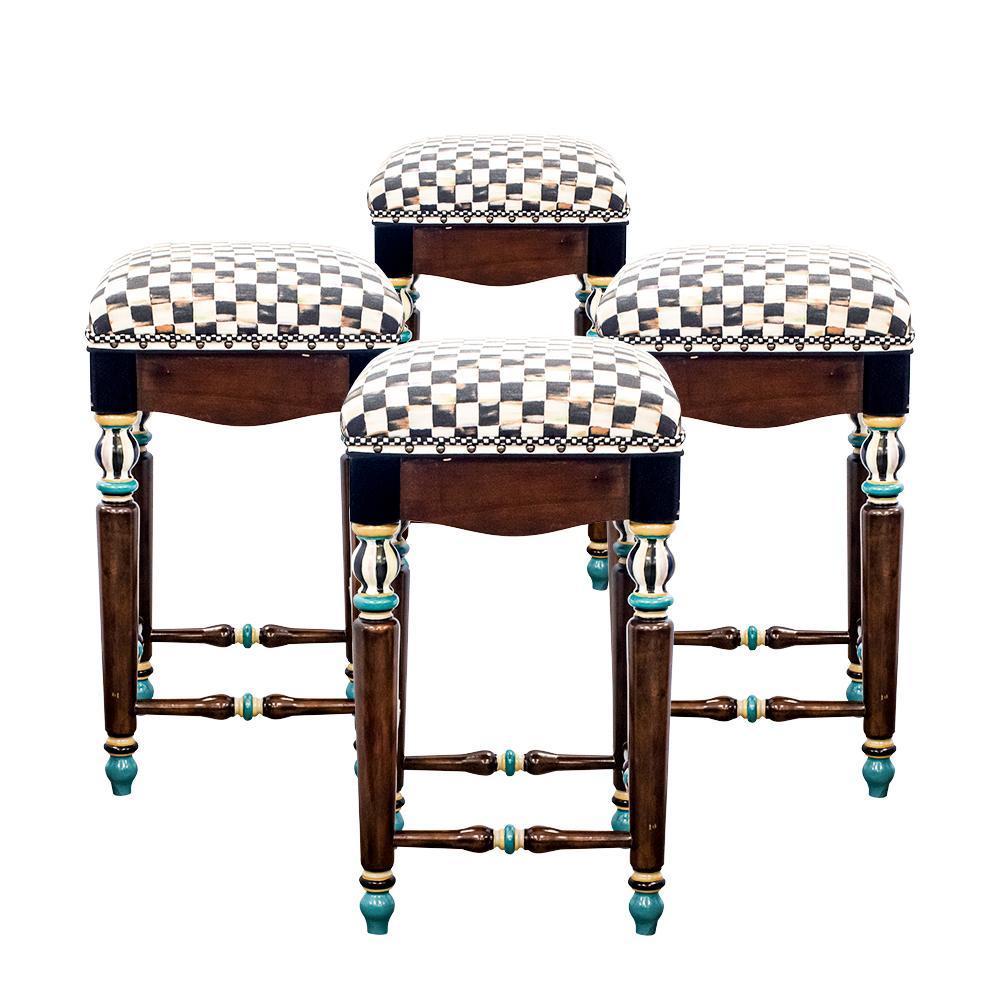 Set Of Four Mackenzie Childs Barstools
