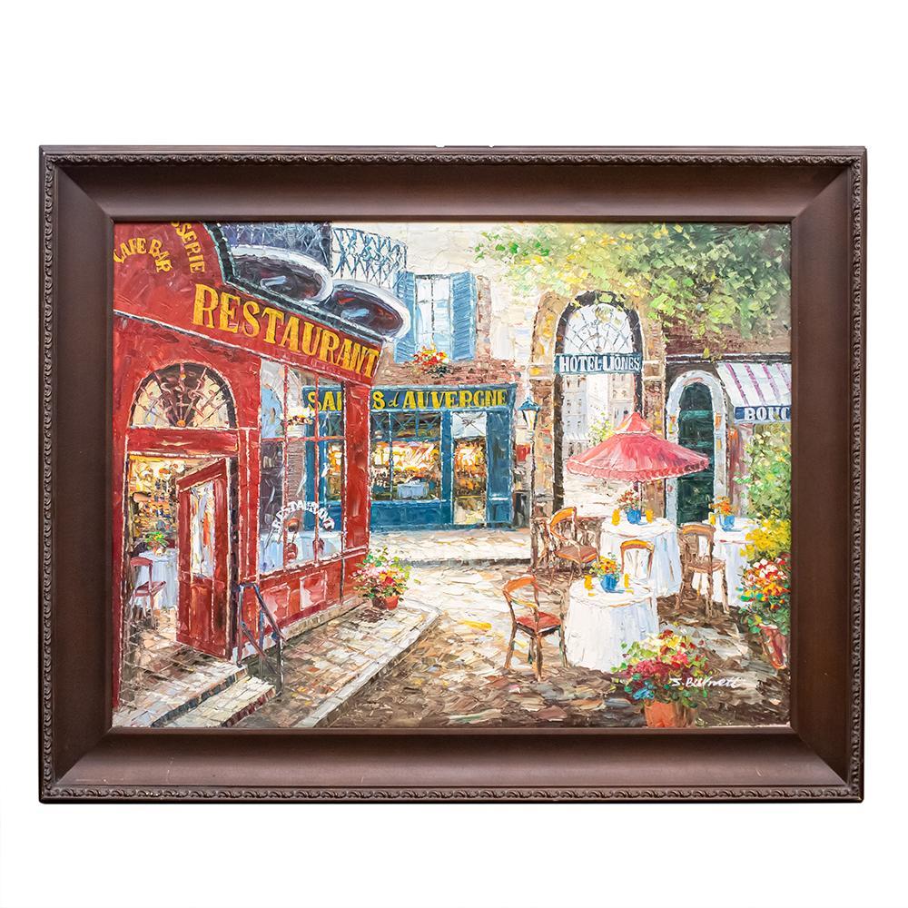 Bistro Scene Oil Enhanced Print With Wood Frame