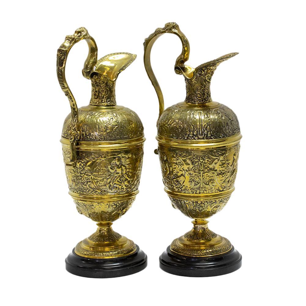 Pair Of Vintage European Brass Ewers