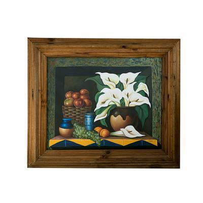 44x51 Rustic Frame Calla Lillies Still Life
