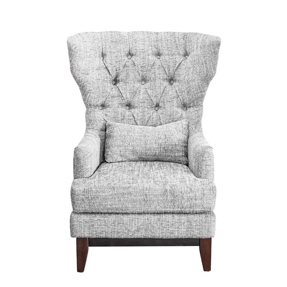 Tweed Wingback Nailhead Chair