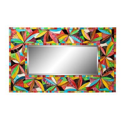 Floral Glass Mosaic Framed Mirror