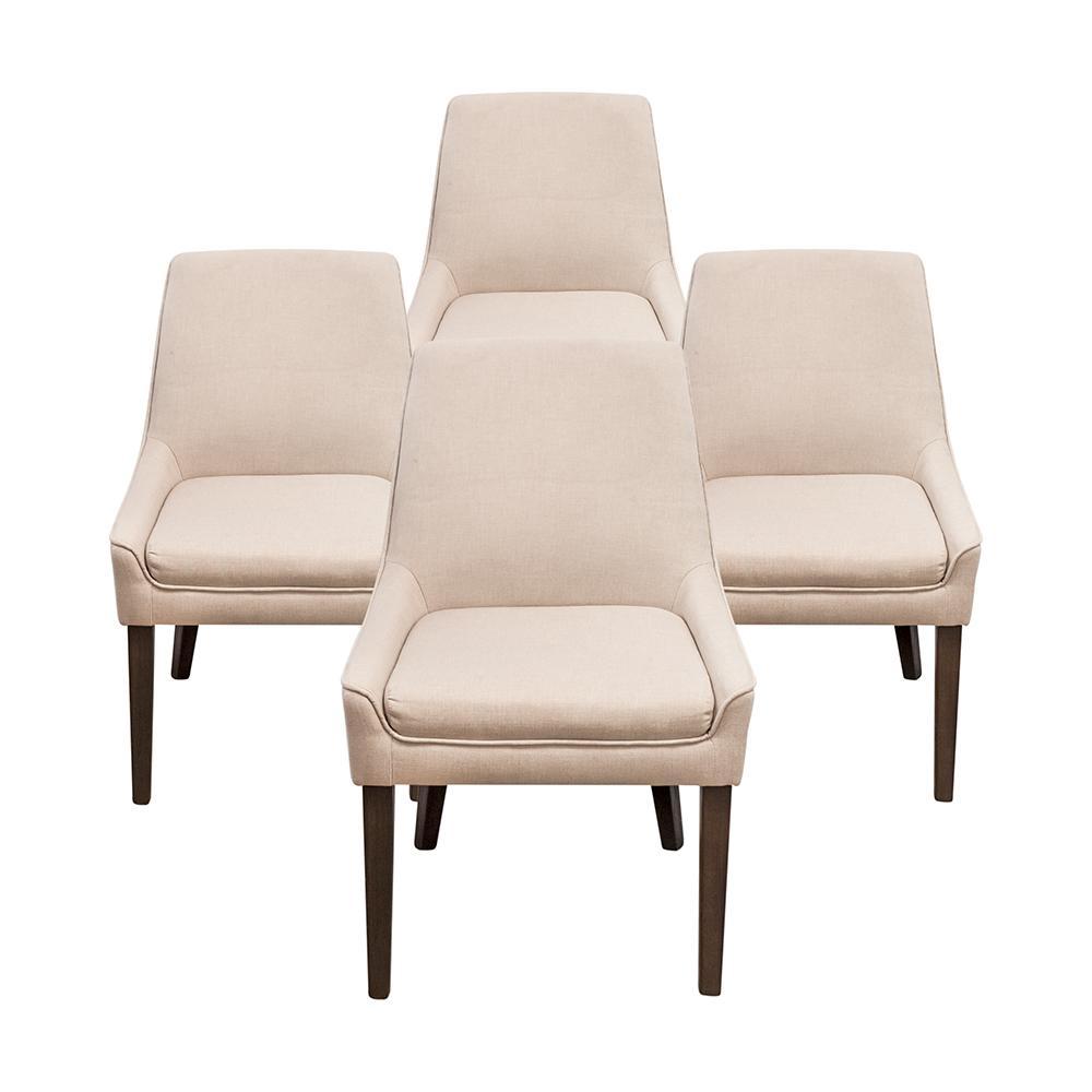 Set Of 4 Jason Furniture Linen Chairs