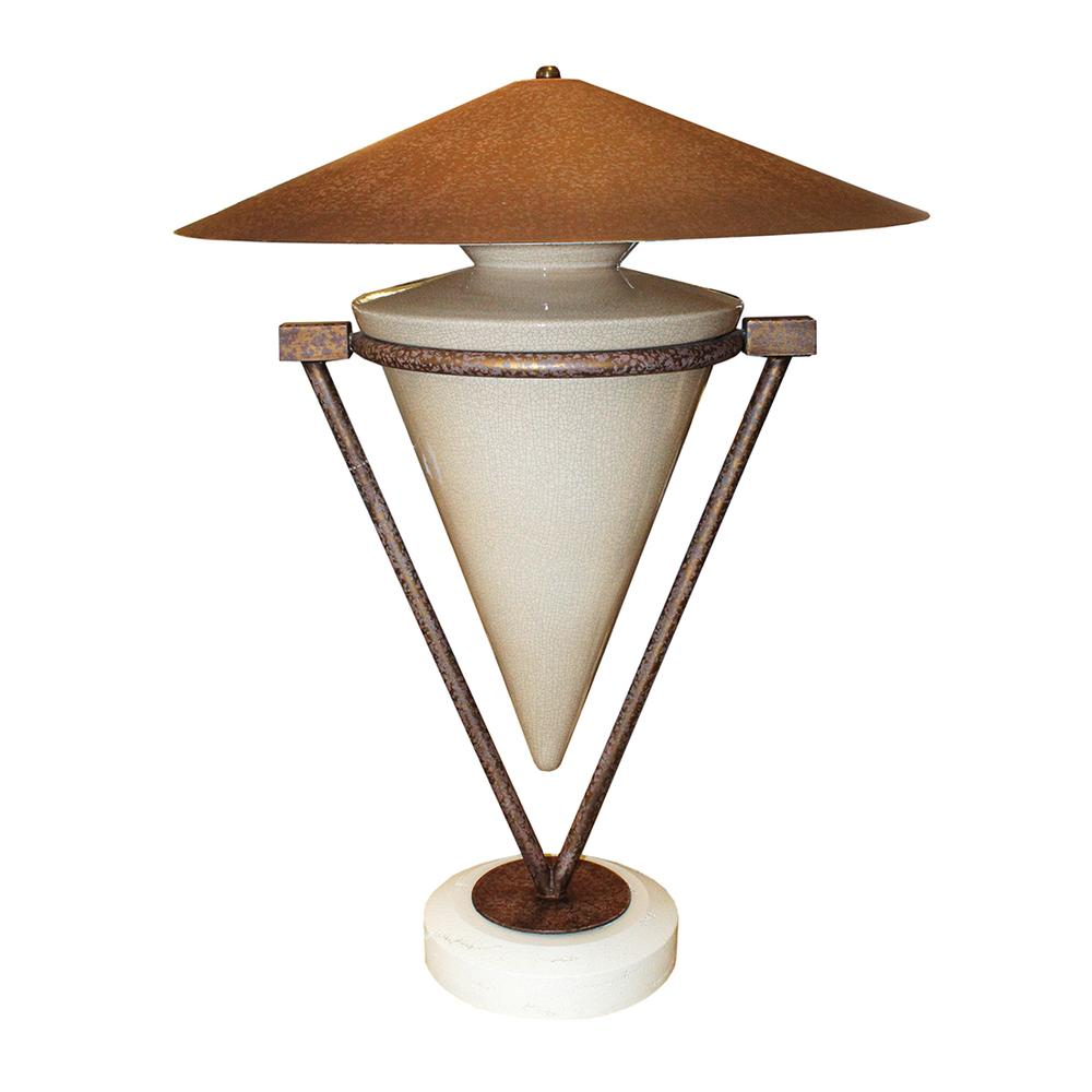 Crackle Ceramic Cone Shaped Lamp