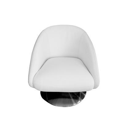Lazar White Leather Barrel Chair