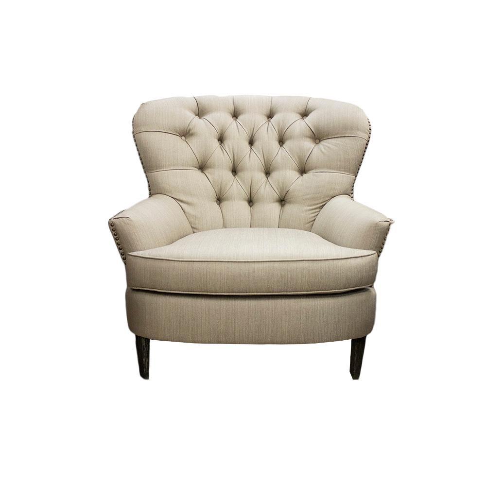 Pottery Barn Tufted Nailhead Fabric Chair