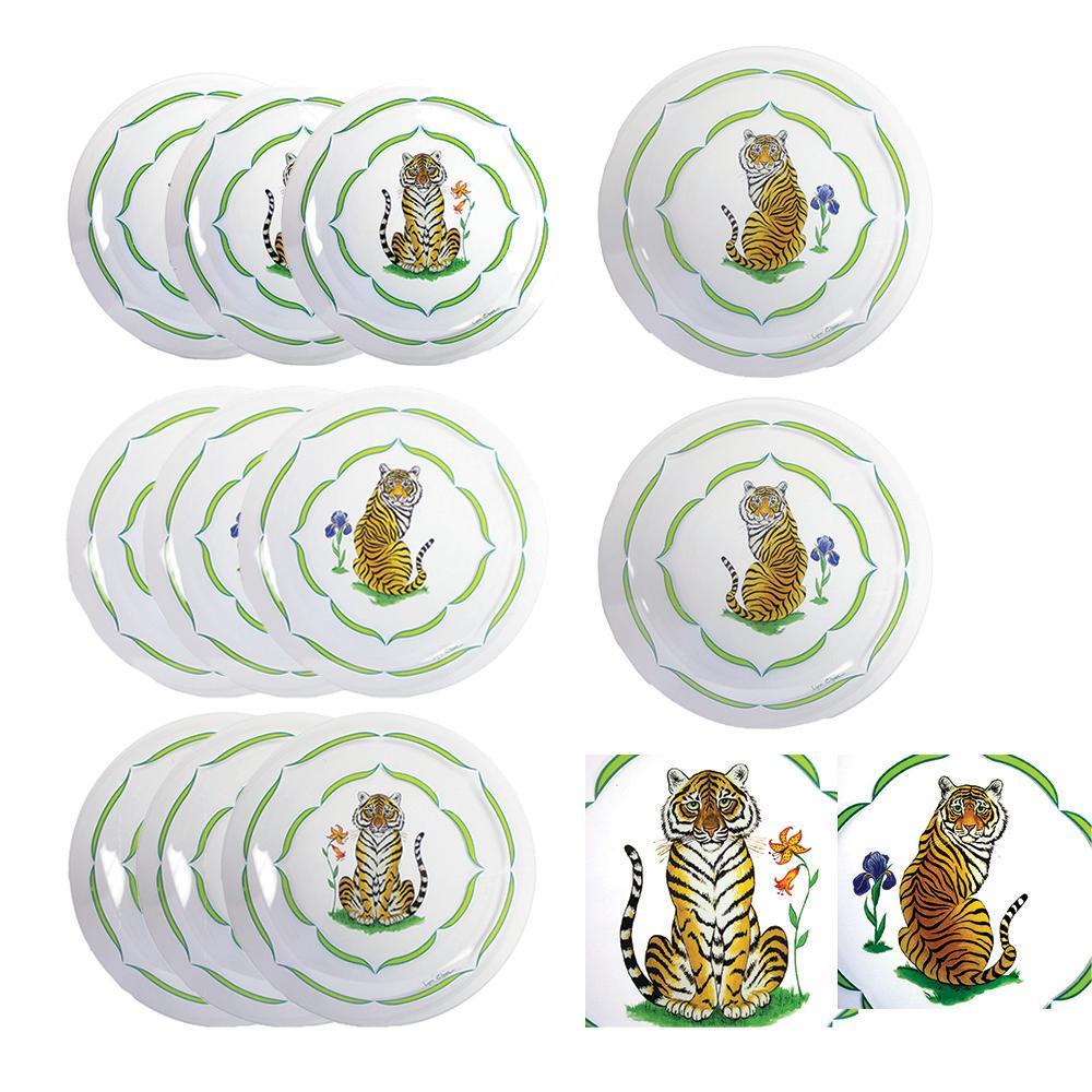 Set Of 11 Raj By Lynn Chase Tiger Dessert Plates