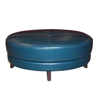 Macy's Oval Blue Leather Ottoman