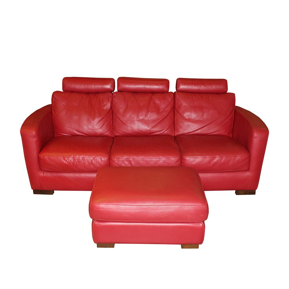 Italsofa Leather Modern Sofa With Ottoman