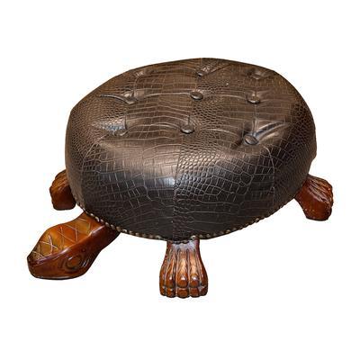 Black Faux Leather Turtle Shaped Ottoman