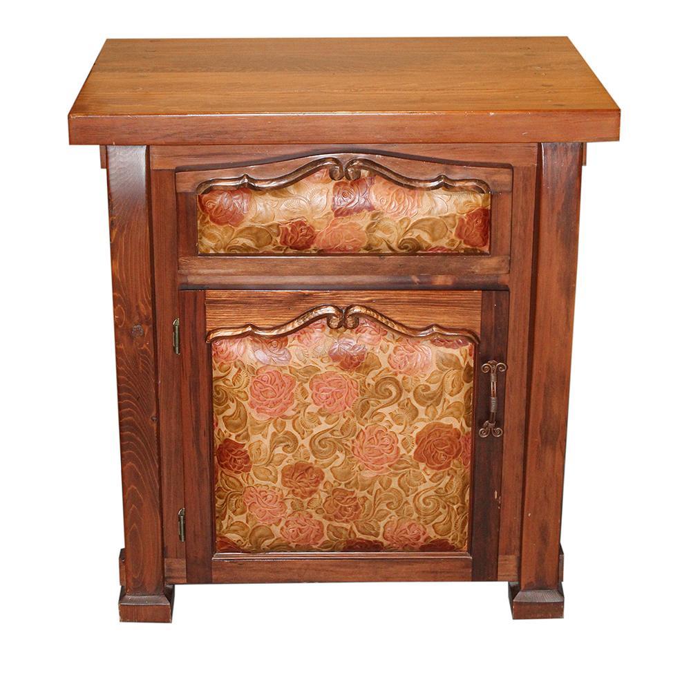 Custom Rose Embossed Leather Timber Nightstand