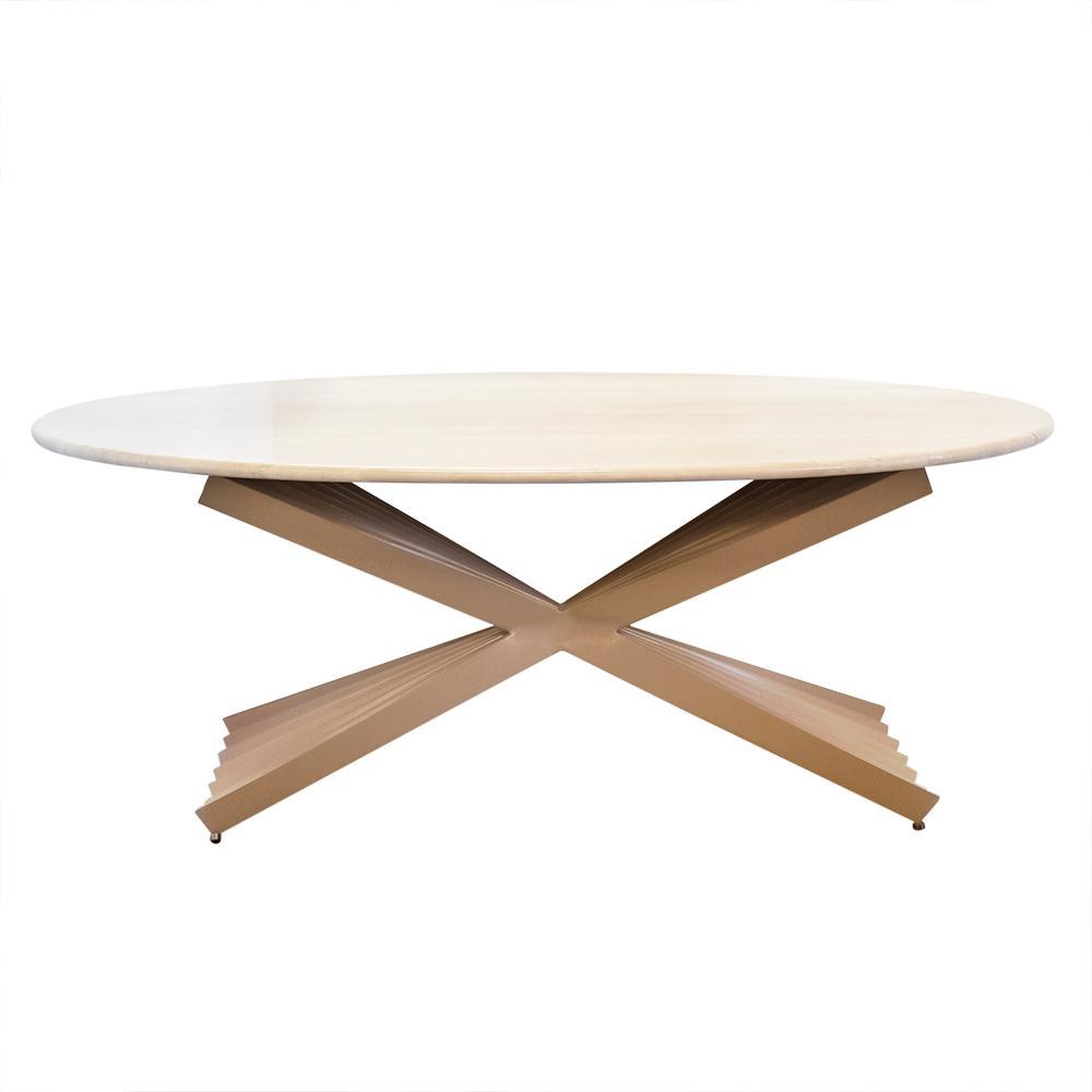 Custom Travertine Top Dining Table