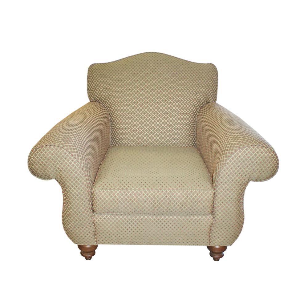 Ethan Allen Green Fabric Pattern Arm Chair