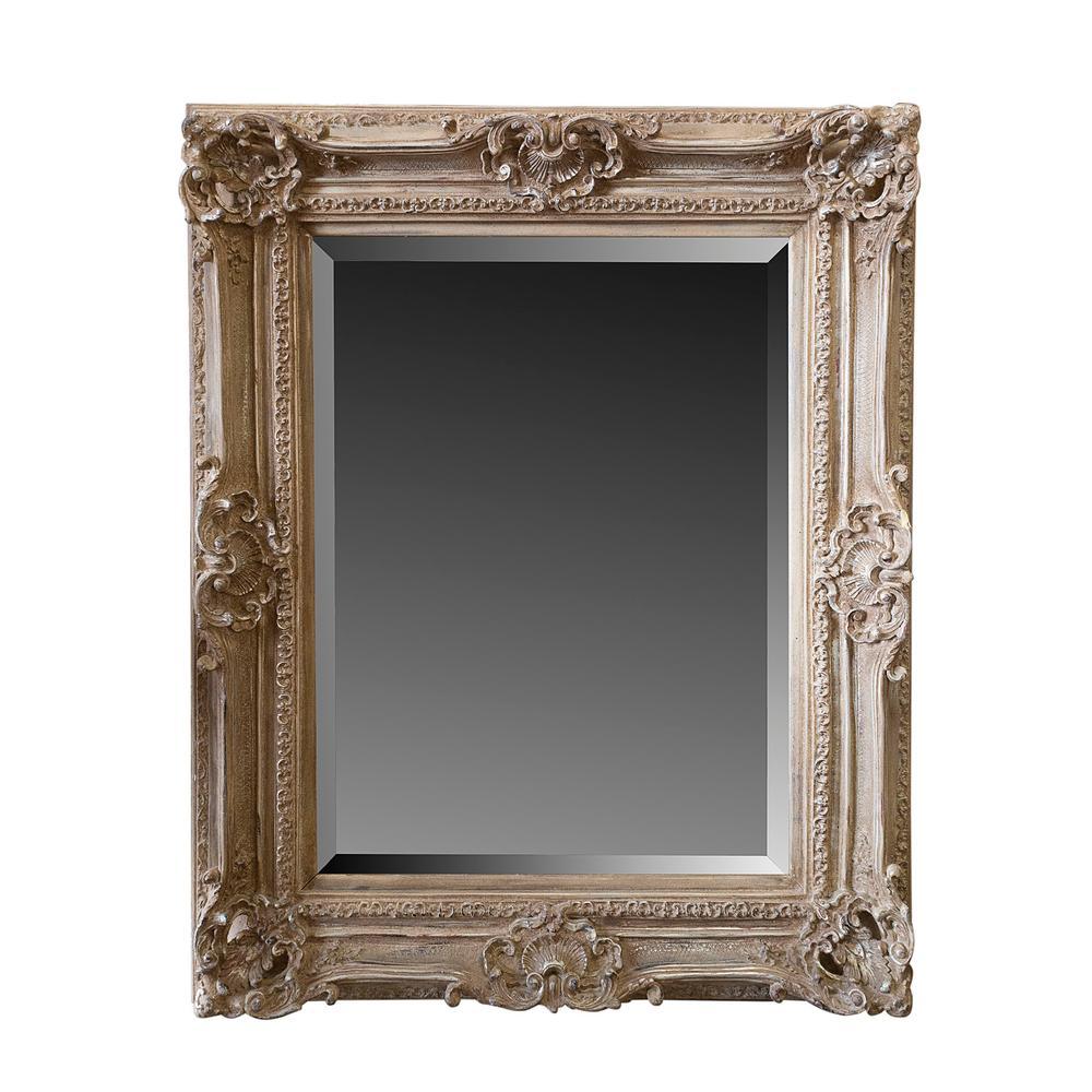 Beveled Mirror With Ornate Wood Frame