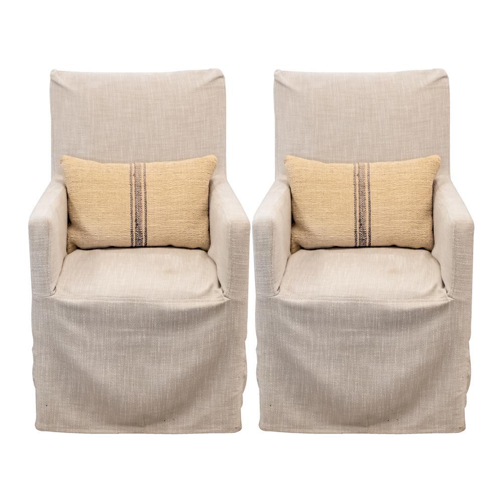 Pair Of Linen Restoration Hardware Chairs