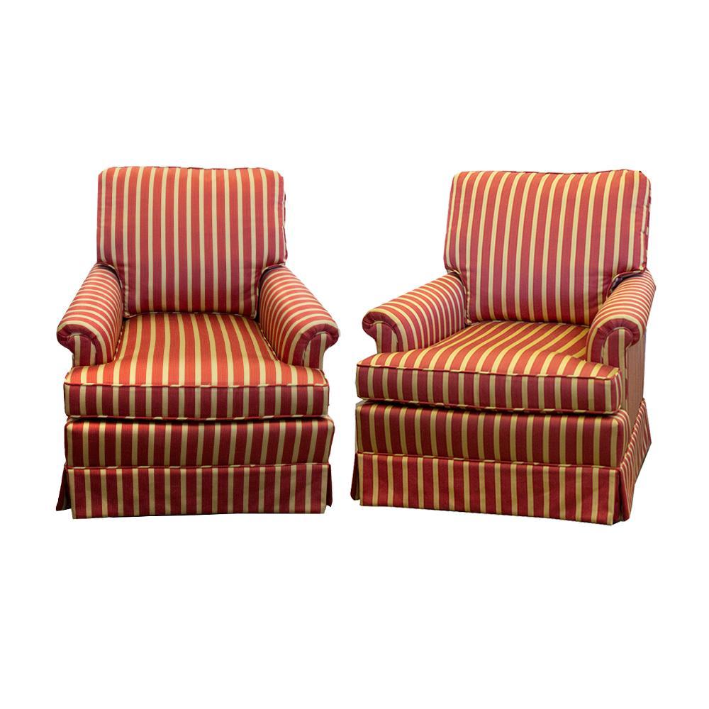 Pair Of Striped Swivel Rocker Chairs