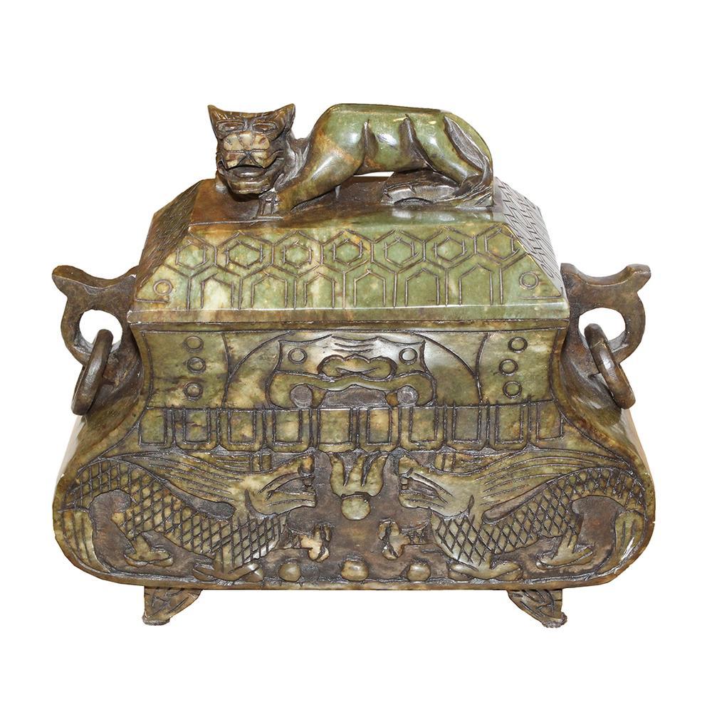 Chinese Olive Stone Coffer Box