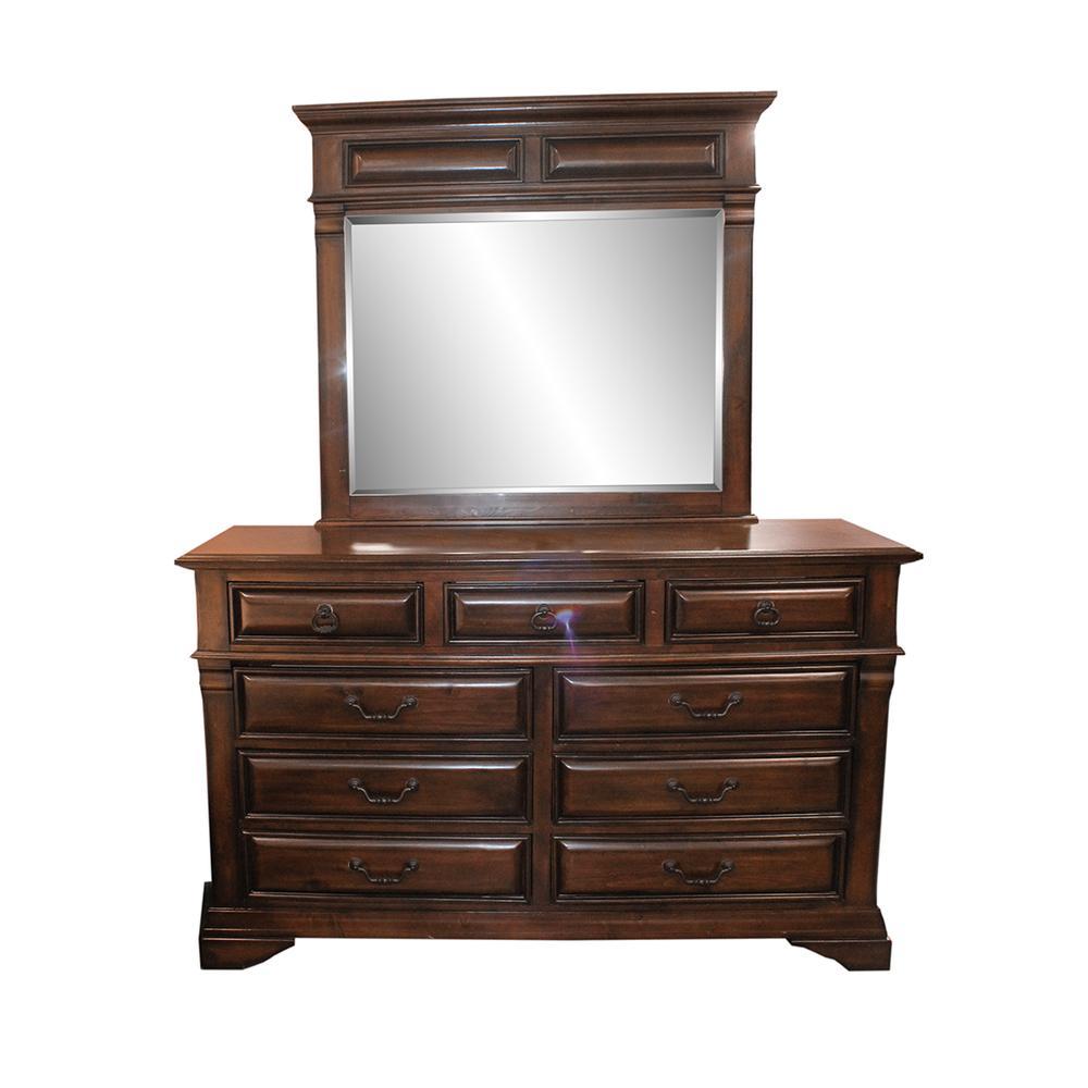 Dark Wood Dresser With Mirror