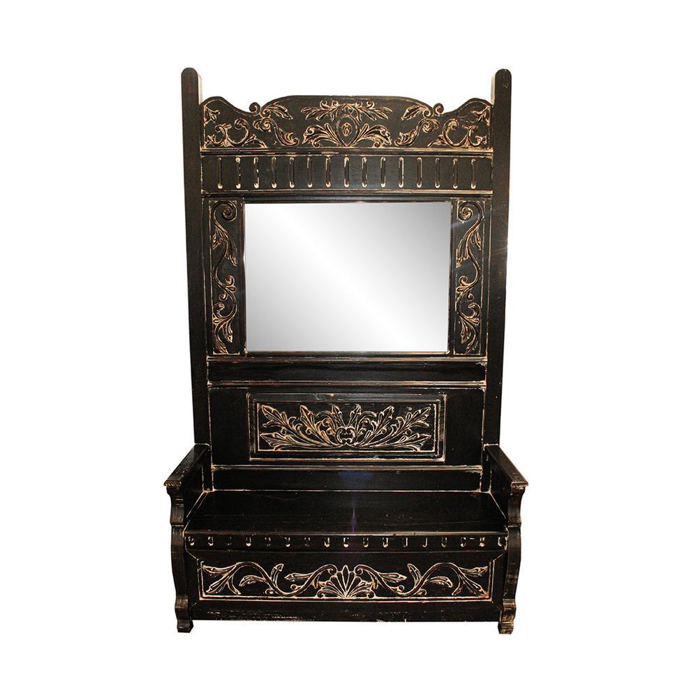 Razmataz Black Ornate Distressed Wood Bench & Mirror