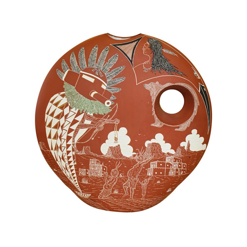 Southwestern Etched Ceramic Pottery Jar
