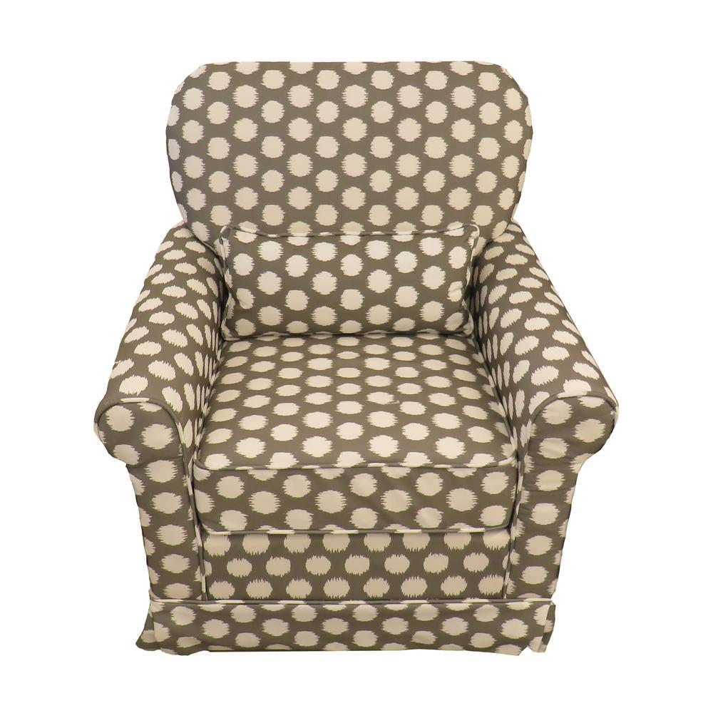 Storkcraft Grey Polka Dot Upholstered Swivel Chair
