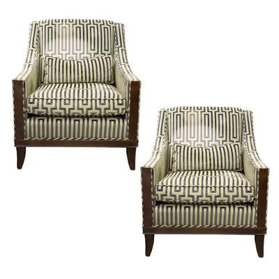 Pair of Kravet Geometric Fabric Chairs