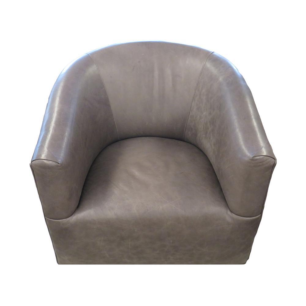 Arhaus Bowan Leather Swivel Chair