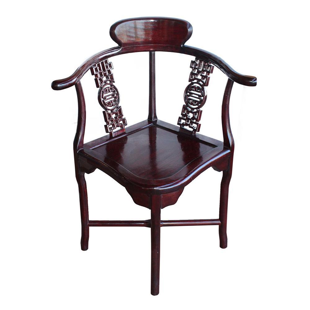 Cherry Wood Asian Design Corner Chair
