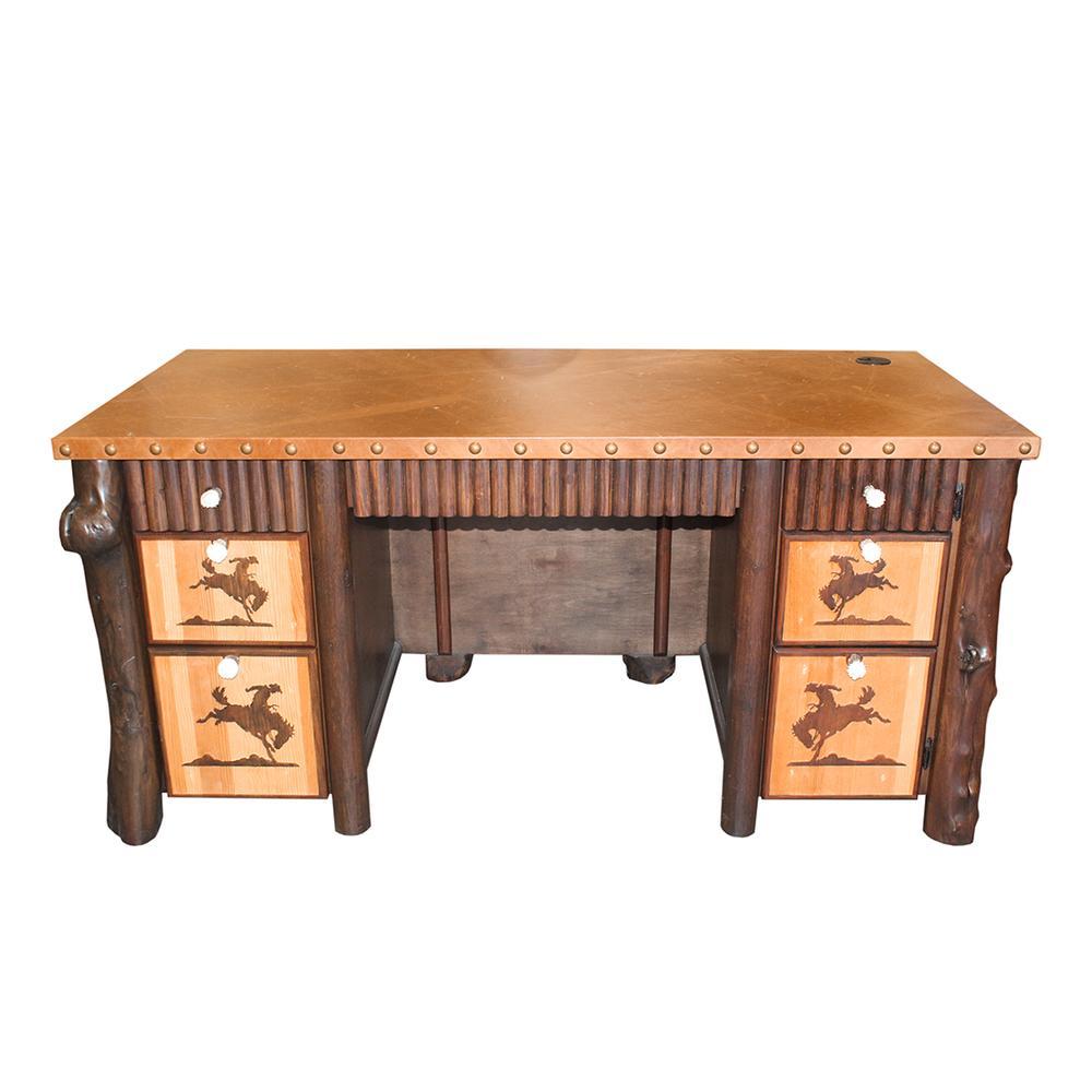 Southwestern Leather Wrapped Carved Desk