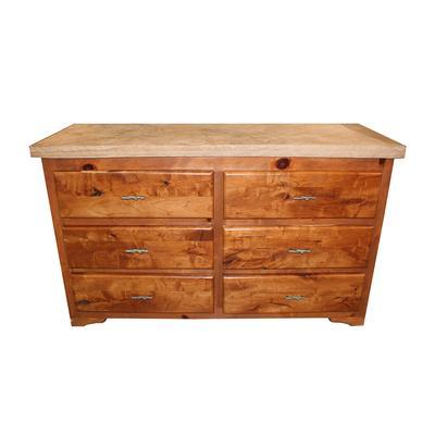 Knotty Pine Dresser Stone-Top Dresser