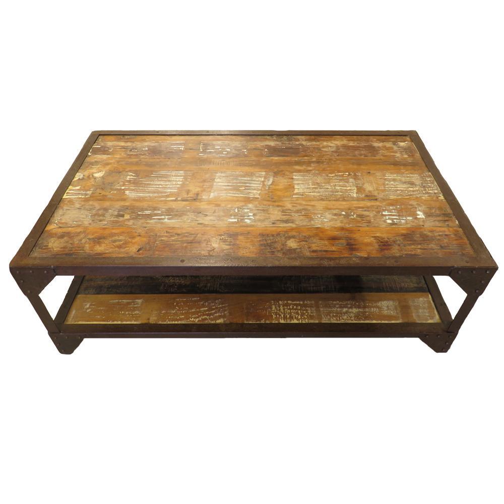 Reclaimed Wood Industrial 2 Tier Coffee Table