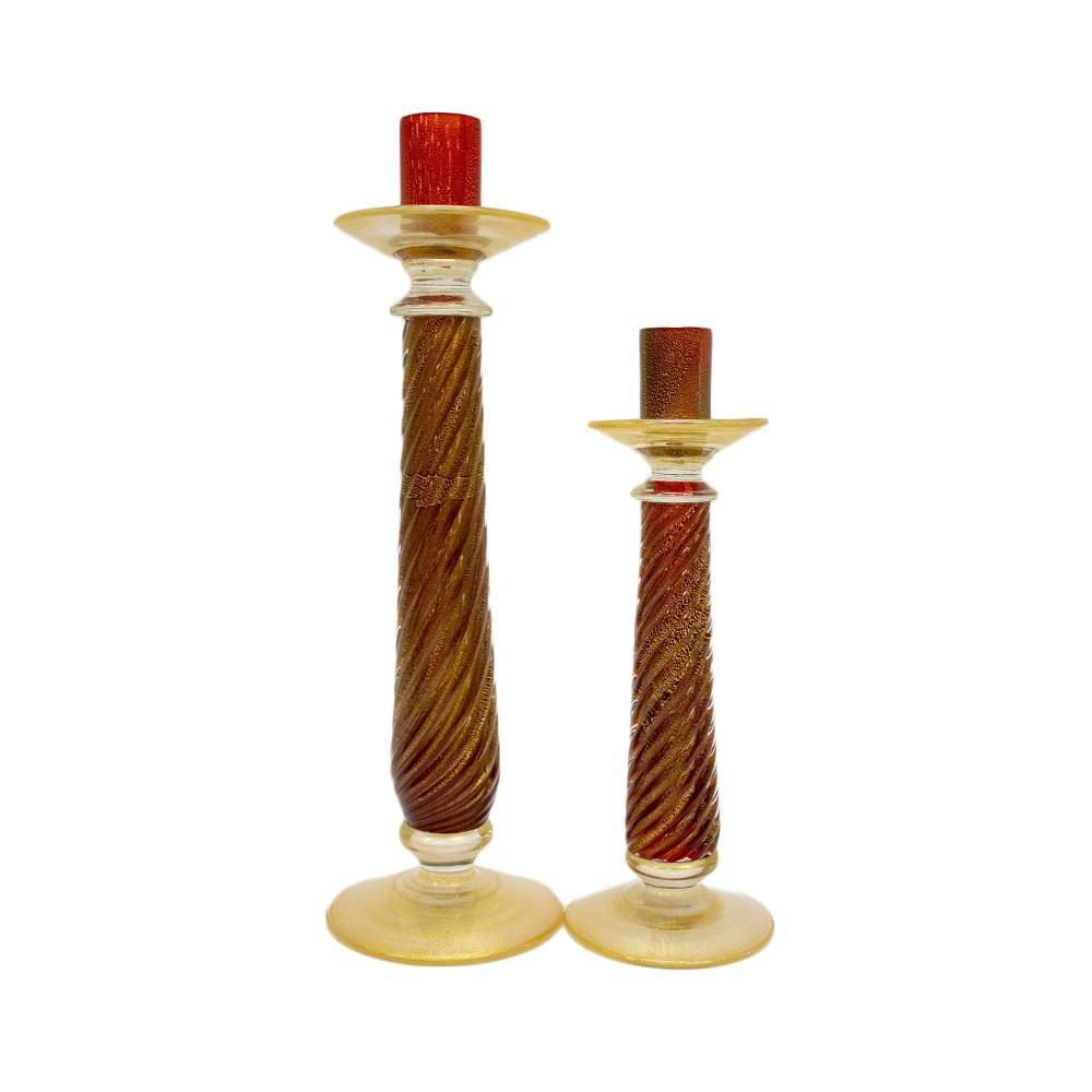 Murano Red & Gold Candlesticks