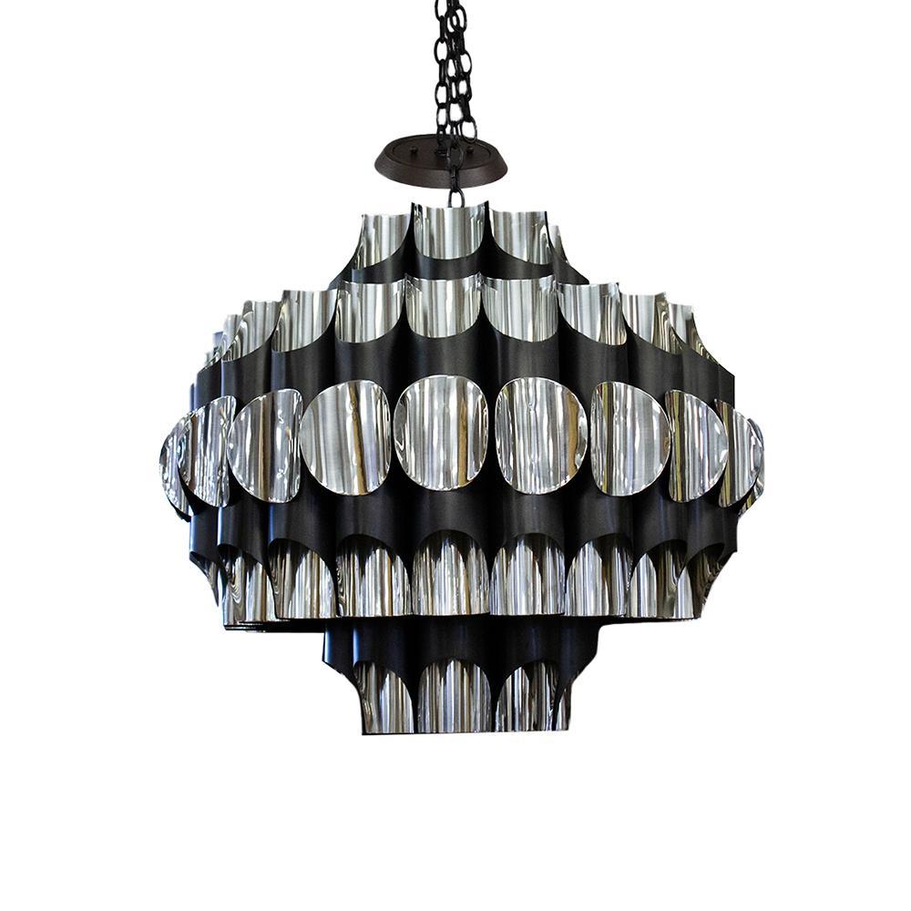 Silver Black Round Pendant