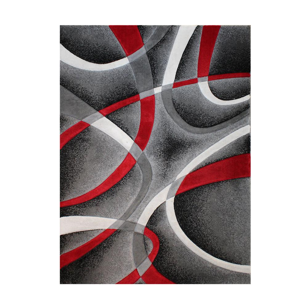 Red & Grey Geometric Pattern Rug